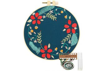 (Red Flowers) - Embroidery Starter Kit with Pattern, Cross Stitch Kit Include Stamped Embroidery Clothes with Floral Pattern, Plastic Embroidery Hoops, Colour Threads and Tools Needlepoint Kits (Red Flowers)