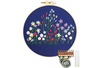 (Flowers) - Embroidery Starter Kit with Pattern, Cross Stitch Kit Include Stamped Embroidery Clothes with Floral Pattern, Plastic Embroidery Hoops, Colour Threads and Tools Needlepoint Kits (Flowers)