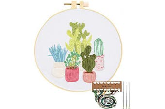 (Cactus) - Embroidery Starter Kit with Pattern, Cross Stitch Kit Include Stamped Embroidery Clothes with Floral Pattern, Plastic Embroidery Hoops, Colour Threads and Tools Needlepoint Kits (Cactus)