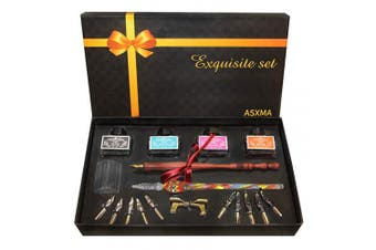 wooden calligraphy pen Glass pen set, which Includes the pen nib as well as four different ink colours. Suitable for use by all ages, and experience from beginner to professional.