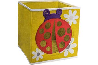 (Ladybug) - SystemBuild Children's Playroom Kids Toys Organising 28cm x 28cm Character Fabric Drawer/Storage Bin (Ladybug)
