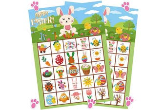 (Easter Bingo Game) - Funnlot Easter Games for Party Easter Bingo Game for Kids with 24 Players Easter Party Supplies for Family Classroom Activities