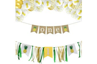 (Pineapple) - Xunlong Baby 1st Birthday Decorations One Highchair Banner Baby Girl Happy Birthday Banner with Pink, White, Silver Balloons Best Gifts for Kids Party (Pineapple)