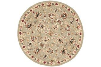 (0.9m/Diameter, Sage/Ivory) - Safavieh Chelsea Collection HK78D Hand-Hooked Sage and Ivory Premium Wool Round Area Rug (0.9m Diameter)