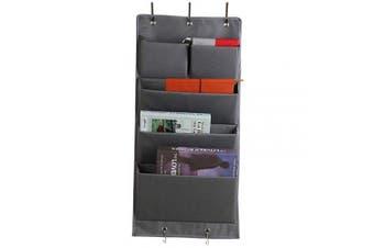 Over Door Storage, Hanging Shelves Foldable Wardrobe Closet Storage with 5 Shelves Organiser, storage organiser Closet Organiser with 5 Hooks for for Toys, Magazine, Purses, Keys, Sunglasses(Grey)