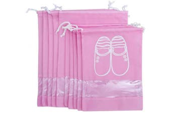 (Pink) - AVESON Pack of 10 Portable Travel Shoe Organiser Bag for Boots, High Heel - Drawstring, Transparent Window, Space Saving Storage Bags, 5 Large + 5 Medium Size, Pink