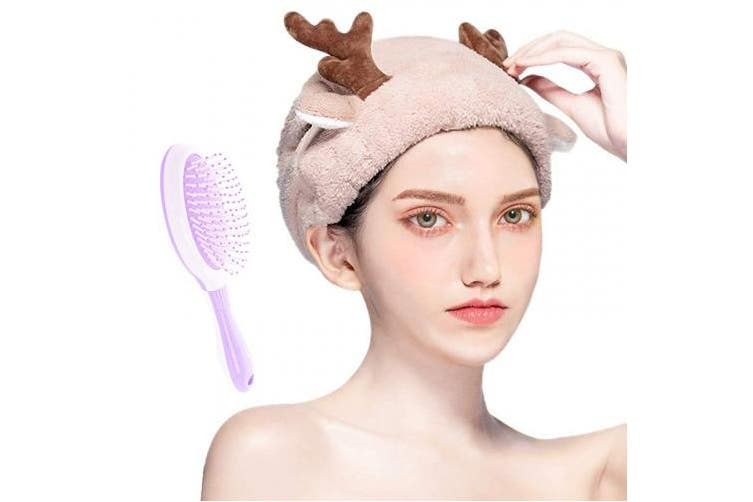 (Light Brown Drying Hat with Comb) - Hair Drying Caps Cute Cartoon Soft Thickening Dry Hair Towel Absorbent Shower Bath Cap Wrap Quick Dry Hair Hat for Women Girls (Light Brown Drying Hat with Comb)