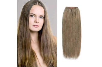 (41cm , 8#) - ABH AmazingBeauty Hair Halo Hair Extensions - Invisible Miracle Wire Remy Human Hair, 8 Ash Brown, 41cm