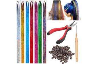 Hair Tinsel Strands Kit Tinsel Hair Extensions Fairy Hair Tinsel Kit for Women Girls with Tools - 7 Colours & Dark Brown Silicone Link Rings Beads
