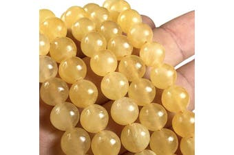 [ABCgems] Moroccan Golden Selenite AKA Honey Calcite 10mm Smooth Round Beads