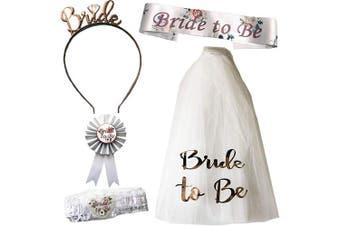 Blue Planet Fancy Dress Bride to Be Veil, Rose Gold Headband Tiara, Floral Sash, Garter & Rosette Badge Hen Party Accessories