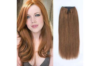 (50cm , 30#) - ABH AmazingBeauty Hair Miracle Wire Hair Extensions - Invisible Miracle Wire Remy Human Hair, 30 Light Auburn, 50cm