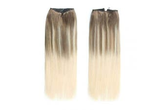 (50cm , B8/60#) - ABH AmazingBeauty Hair Halo Hair Extensions - Invisible Miracle Wire 100% Remy Human Hair, Balayage Ash Brown to Platinum Blonde Highlights B8/60#, 50cm