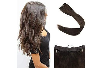 Full Shine Halo Human Hair Extensions 41cm Straight Natural Fish Wire Hair Extensions 2 Darkest Brown 80 Gramme Hairpiece Fish Line Hair Extension