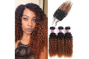 "(14""16""18""+Closure12"") - Alisfeel Hair Ombre Brazilian Kinky Curly Hair Lace Closure 4x4 Free Part Brazilian Ombre Curly Human Hair Curly Hair Closure 1B/30 (14""16""18""+Closure12"")"