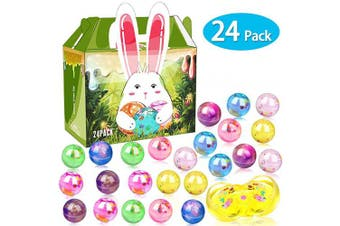 (4.1cm ) - 24 Pack Easter Basket Stuffers Eggs Slime, Easter Eggs Slime Kit Galaxy Clear Crystal Party Favour Slime Balls in a Bunny Delicate Gift Box for Easter Decorations Easter Basket Gifts for Toddlers Kids