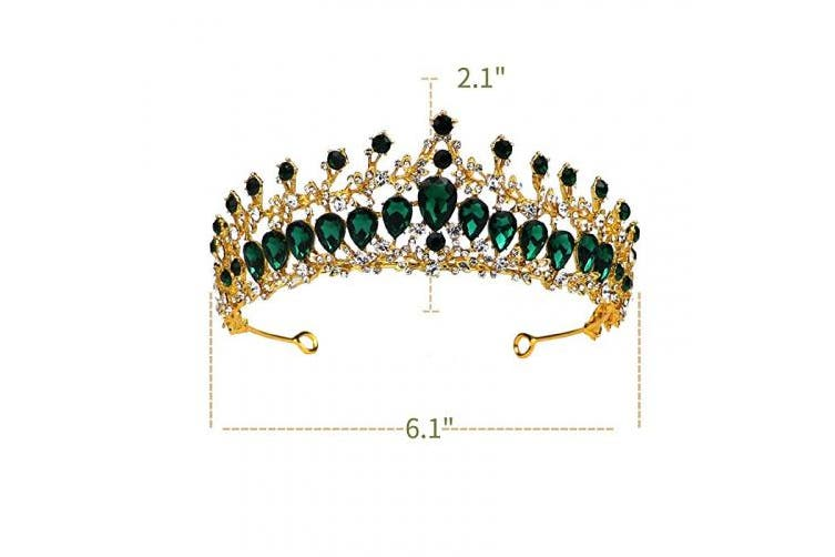 (Golden/Olive Green) - Sparkly Tiara Headband Crown w Baroque Olive Green Rhinestone Elegant Golden Queen Crown for Women and Girls by Greuame