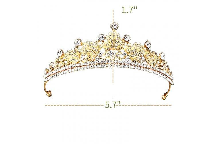 (Golden) - Greuame Sparkly Tiara Crown w Tiny Rhinestone Elegant Golden Leaves Princess Headpiece Headband for Women and Girls