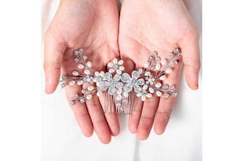 (Silver) - Asooll Wedding Flower Crystak Hair Comb Bride Hair Pieces Bridal Hair Accessories for Women and Girls (Silver)