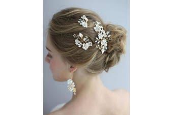 (Hair Clip) - AW BRIDAL Wedding Hair Clip Comb Barrette Flower Crystal Bridal Hair Piece Gold Hair Accessories Headpiece for Brides Wedding