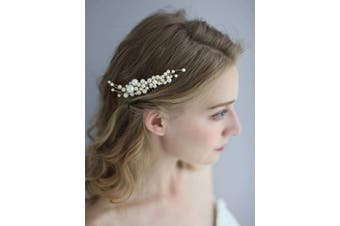 (Big Pearl Comb) - AW BRIDAL Pearl Hair Comb Clip Gold Wedding Hair Piece Hair Barrettes Accessories Flower Girl Headpieces for Women Brides