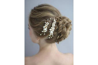 (Small Pearl Comb) - AW BRIDAL Wedding Hair Comb Clip Pearl Bridal Hair Piece Wedding Headpiece Gold Hair Jewellery Accessories for Bride Bridesmaid Flower Girls