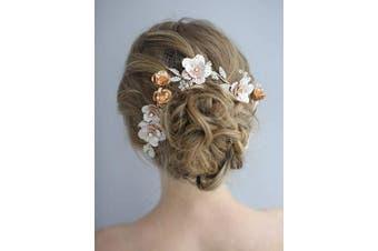 (Hair Comb) - AW BRIDAL Flower Hair Comb Barrette Wedding Hair Piece Clip Rose Gold Wedding Headpieces Hair Accessories for Women Bride