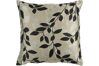 (Poly Fill, 60cm  60cm , Black) - Surya HH-061 Hand Crafted 88% Polyester / 12% Polyamide Black 60cm x 60cm Floral Decorative Pillow