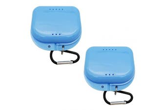 (Blue-2) - AIWAYING Retainer Case Mouth guard Denture Box with Carabiner Clip