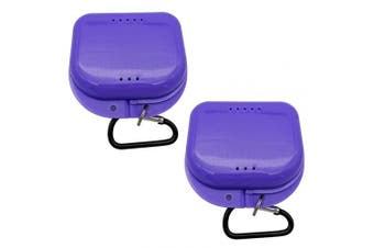 (Purple-2) - AIWAYING Retainer Case Mouth guard Denture Box with Carabiner Clip