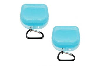 (Transparent blue-2) - AIWAYING Retainer Case Mouth guard Denture Box with Carabiner Clip