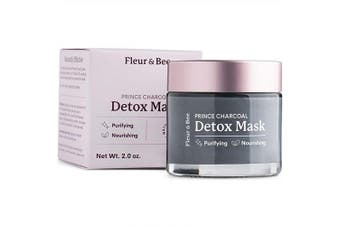 Detox Face Mask | Natural, 100% Vegan & Cruelty Free | Charcoal and Clay Mask for All Skin Types | Green Tea and Organic Ingredients | Unclogs, Purifies | Prince Charcoal by Fleur & Bee (60ml)