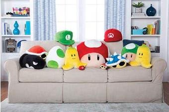 (Luigi Hat) - Club Mocchi Mocchi Mario Kart Luigi Hat Plush Stuffed Toy | Super Soft | Great for Kids & Collectors