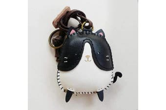 (Tuxedo Cat-pt012-0) - 3XU Tuxedo Cat Leather Toy, Cute Leather Bag Charm, Lovely Animal Keychain, Unique Accessories