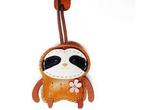 (Sloth-pt007-0) - 3XU Sloth Leather Toy, Cute Leather Bag Charm, Lovely Animal Keychain, Unique Accessories