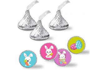 """Cute Bunnies & Easter Eggs Themed Kiss Sticker Labels, 300 Party Circle Sticker sized 0.75"""" for Chocolate Drop Kisses by AmandaCreation, Great for Party Favours, Envelope Seals & Goodie Bags"""