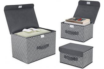 DIMJ 3 Pack Foldable Storage Boxes with Lids Fabric Storage Organiser Box with Handle Large Storage Bins for Toys, Books, Closet, Bedroom, Home (Grey & White)