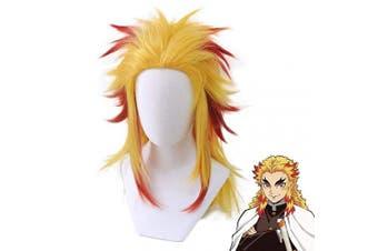 (Rengoku Kyoujurou) - Ani·Lnc Demon Slayer Kimetsu no Yaiba Rengoku Kyoujurou Wig Cosplay Costume Men Women with Wig Cap(Rengoku Kyoujurou)
