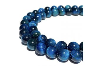 [ABCgems] African Blue Tiger Eye (Exquisite Matrix- Beautiful Colour) Tiny 6mm Smooth Round Natural Semi-Precious Gemstone Healing Energy Beads