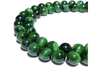 (Green Tiger Eye (From South Africa)) - [ABCgems] African Green Tiger Eye (Exquisite Matrix- Beautiful Colour) Tiny 6mm Smooth Round Natural Semi-Precious Gemstone Healing Energy Beads
