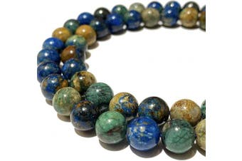 (Azurite Malachite (From South Africa)) - [ABCgems] Two-Tone African Azurite Malachite (Combination of Blue Azurite & Green Malachite) Tiny 6mm Smooth Round Natural Semi-Precious Gemstone Healing Energy Beads