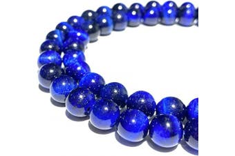 (Navy Blue Tiger Eye (From South Africa)) - [ABCgems] African Navy Blue Tiger Eye (Exquisite Matrix- Beautiful Colour) 8mm Smooth Round Natural Semi-Precious Gemstone Healing Energy Beads