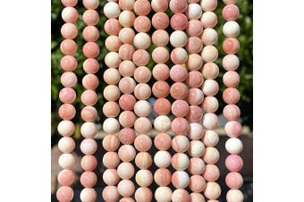 (Salmon-Pink Queen Conch Shell (From Bahamas)) - [ABCgems] Extremely-Rare Bahamas Salmon-Pink Queen Conch Shell (Exquisite Snowy White Matrix) 8mm Smooth Round Natural Mother of Pearl Healing Energy Beads (Light Pink)