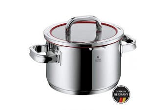 (High Casserole, 20cm) - WMF cookware Ø 20 cm approx. 3,4l Function 4 Inside scaling lid - pour off or decant liquids without spilling to keep your dishes and cooker clean. Made in Germany hollow side handles glass lid Cromargan stainless steel brushed