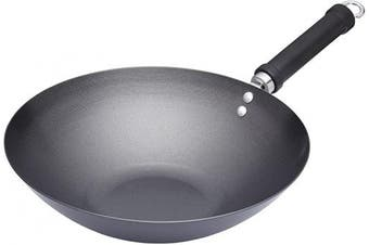 KitchenCraft World of Flavours Non Stick Induction Wok, Carbon Steel, Large, 30 cm