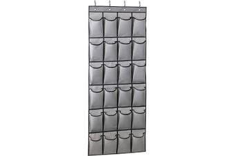 (Grey) - MISSLO Hanging Shoe Racks Storage Door Tidy Organiser 24 Large Fabric Pockets Shoe hanger, Grey