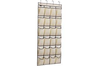 (Beige) - MISSLO Over the Door Shoe Organiser 24 Large Fabric Pocket Wardrobe Accessory Storage Hanging Shoe Hanger (Beige)