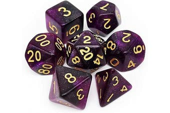(Purple Black Nebula) - Haxtec Nebula Glitter DND Dice Galaxy Polyhedral D & D Dice for Dungeons and Dragons Roleplaying Games