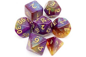 (Purple Yellow Green+iridescent Glitters) - Haxtec Glitter DND Dice Purple Yellow Green Irridescent Glitter Polyhedral D & D Dices for Roleplaying Dice Games Dungeons and Dragons-Polar Sunset