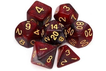 (Red Black Nebula) - Haxtec Nebula Glitter DND Dice Galaxy Polyhedral D & D Dice for Dungeons and Dragons Roleplaying Games